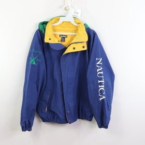 Vintage Nautica Spell Out Hooded Jacket Blue
